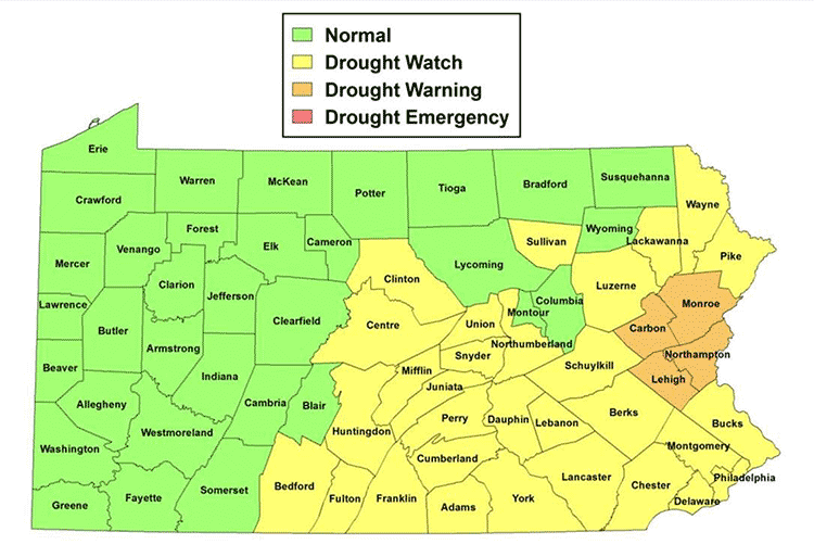 Pennsylvania Drought Map