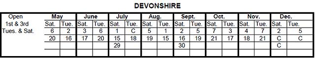 Devonshire Drop-Off Dates for 2017