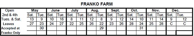 Franko Farm Drop-Off Dates for 2017