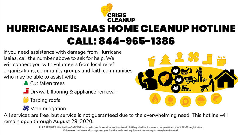 Hurricane Isaias Cleanup Hotline