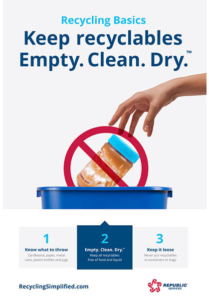 Keep Recyclables Empty Clean and Dry